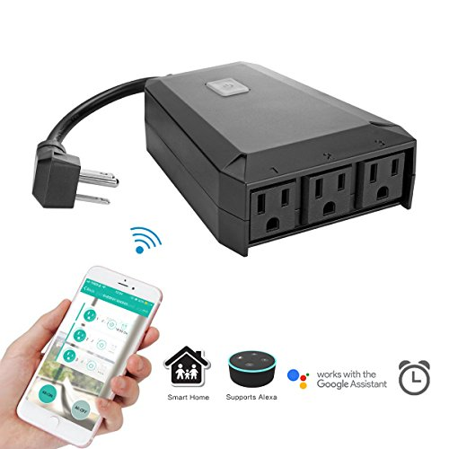 Outdoor Wi-Fi Smart Plug Outlet, Vingtank IP44 Weatherproof Smart 3 Socket Lighting Switch Module Compatible with Alexa, Timing/Timer Setting App Control by Smart Phone, No Hub Required (Black)