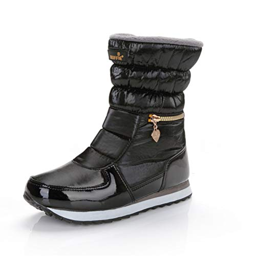 Cremallera Blanco Boots Mujer amp;rosado Botines Calzado Nieve 41 Caliente Negro Impermeable Felpa Zapatos Botas Plateado Ligero Invierno 35 Esquiar Negro wPqSnTq0