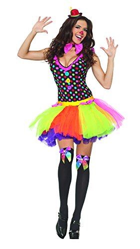 Party King Clowning Around Women's Costume, Multi, (Clowning Around Adult Womens Costumes)