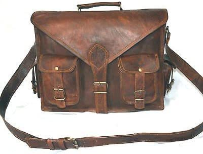 Vintage Business Briefcase for Laptops. LeatherCrafts 18 inch Handmade Real Goat Leather Vintage Brown Briefcase Laptop Bag Briefcase Satchel Messenger Bag for Men /& Women