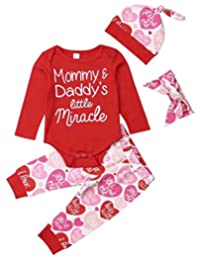 SUPEYA Baby Girls Valentine's Day Rompers+Heart Print Pants +Hat+Headband Outfits