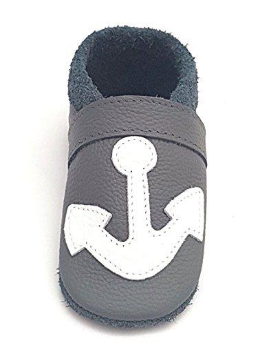 little foot company® 792 Krabbelschuhe Babyschuhe Lauflernschuhe Anker weiches Leder steingrau 18/19 ca. 9-16 Monate