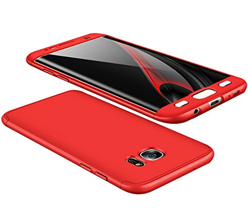 Price comparison product image Samsung Galaxy S7 Edge Case Vanki 3 in 1 Hard PC Full Coverage Protective Cover (Red)
