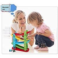 Oyuncaksesi, 4 kaydıraklı ve 4 arabalı ahşap oyuncak kaykay seti, Kayan araba kulesi, kaydıraktan kayan arabalar oyuncağı, Alğı yetenegi, zeka ve dikkat geliştirici, odaklanmaya etkili, hiperaktif çocuklar için oyun seti
