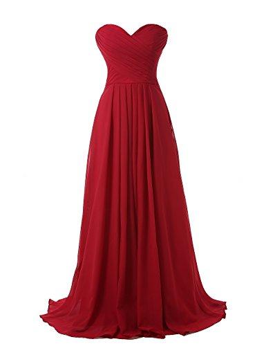 Kiss Dress Strapless Long Bridesmaid Dresses Chiffon Sweetheart Evening Gowns (M, Burgundy)