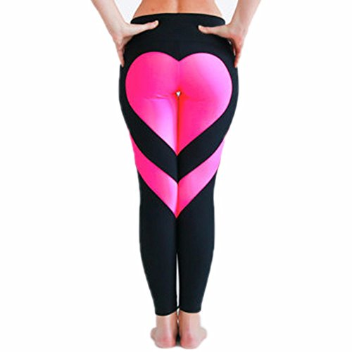 - 2017 Hot! Women's Fitness Leggings Workout Ankle-Length Yoga Pants Super Stretch Sportwear Black&Pink,L UPS Post