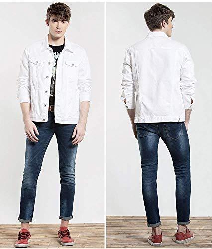 Hx Lunga Tasche Jean Trucker Bianca Denim Button Da Abiti Taglie Comode Jacket Frontali Fashion Cowboy Risvolto Robusto Uomo Coat Manica Casual 1gOrAF1