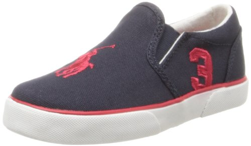 Polo Ralph Lauren Kids Siera Fashion Sneaker ,Navy/Red,4.5 M