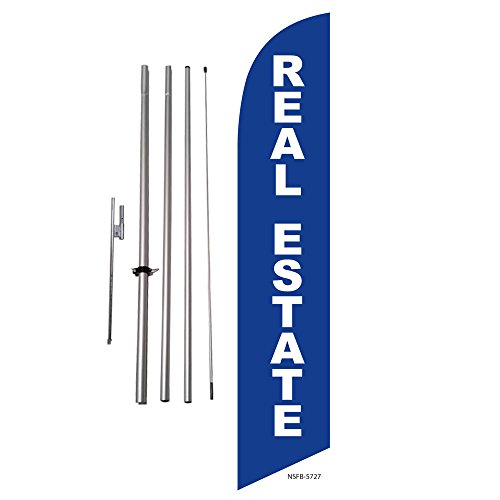 Real Estate (blue) Property Marker Feather Banner Swooper Flag Kit - Includes Pole Kit and Ground Spike