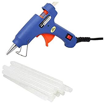 Wadro 20W Hot Melt Glue Gun With On Off Switch And Led Indicator (Blue Gun With 10 Sticks)