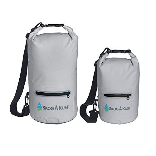 Såk Gear DrySåk Waterproof Dry Bag (10 Liter & 20 Liter, Grey 2-Pack)