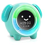 KNGUVTH Kids Alarm Clock Children Sleep Training Clock with 7 Changing Colors Teach