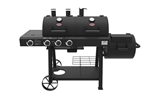 - Char-Griller 3070 Texas Trio 3-Burner Dual Fuel Grill with Smoker in Black