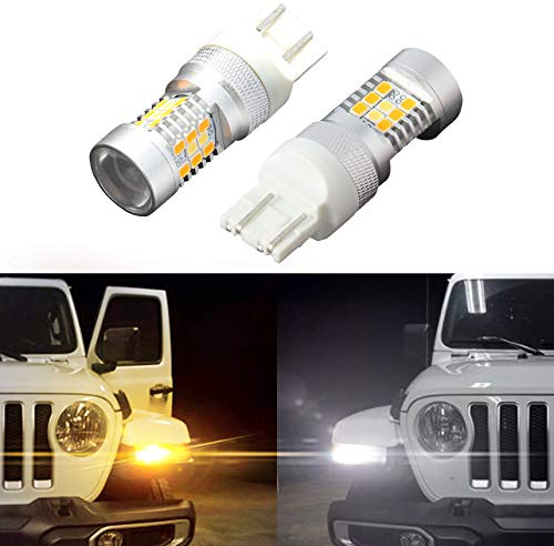SUNPIE Switchback Turn Signal LED Bulbs - White DRL & Amber Turn Direct Fit 2018 2019 2020 Jeep Wrangler JL JT Gladiator Sport and Sport S (Pair)