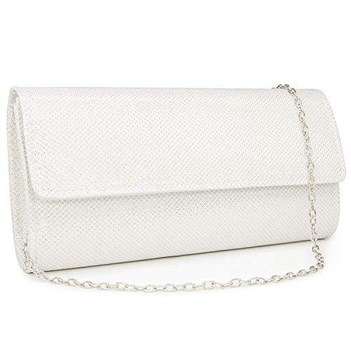 HEKATE Women Clutches Glitter Clutch Purse Elegant Evening Bags Shoulder bag (White)