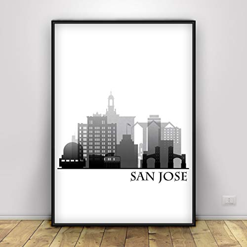 San Jose Black and White, Skyline Poser, City Print of San Jose, Bed Room Decor Ideas, San Jose Silhouette Wall Print, Cityscape Decor, Unframed ()