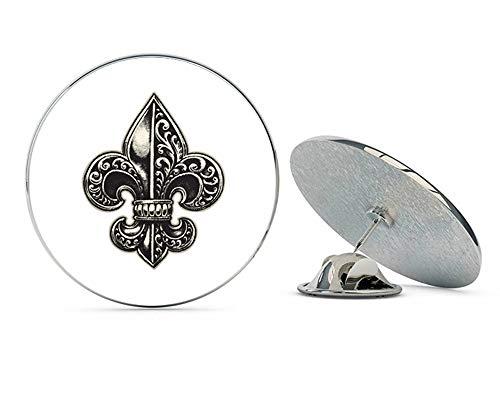 Fleur De Lis Tie Pin - BRK Studio Detailed Ornate Fleur DE LIS Black Cream White Round Metal 0.75