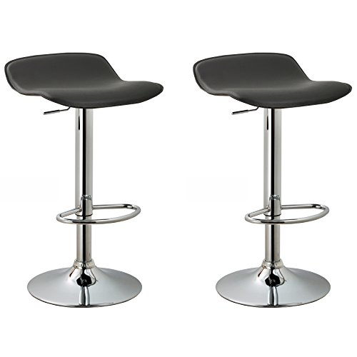 ry Backless Armless Swivel Height Adjustable Hydraulic Lift Chrome Base Bar Stool with Footrest, Set of 2 (Black) (Contour Upholstered Stools)