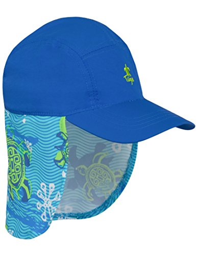 Tuga Boys Flap Sun Hat (UPF 50+), Spring Tide, Medium