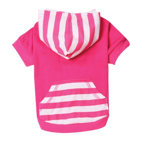 East Side Collection Polyester/Cotton Brite Stripe Dog Pullover, X-Small, 10-Inch, Raspberry