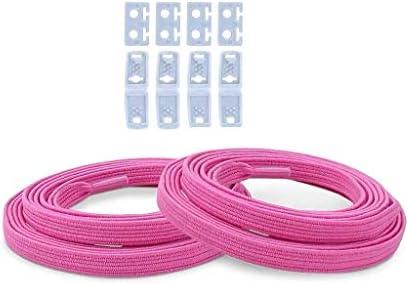 ネクタイフラレイジーフリーレース子供用ワイルドエラスティックストラップレースカジュアルシューズスポーツシューズフリーレースマルチカラー-2ペア (Color : Pink, Size : 88cm)