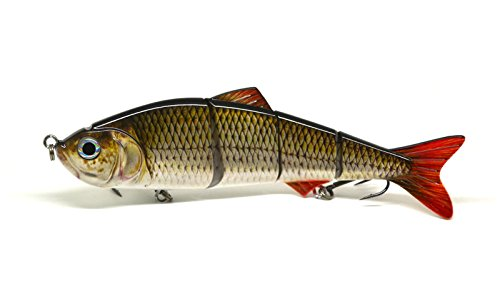 EXTRA LARGE 8'' (200mm) Swimbait Multi Jointed Fishing Lure realistic swim action bronze scaled pattern for pike, perch, zander and bass 40g