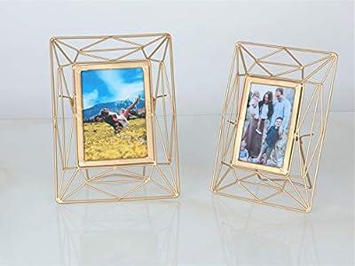 Folkulture Geometric Picture Frame - Photo Frames for Picture Display, Framing Photography, Art, Illustrations or Home/Desk Decor, Metal, Gold Finish