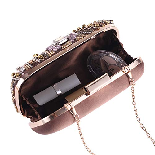 Evening Evening Female Bag Handmade Fly Clutch Bag Diamond Evening Beaded Studded 2018 Coffee Dress New Bag Party Package xwqRY5YZdU