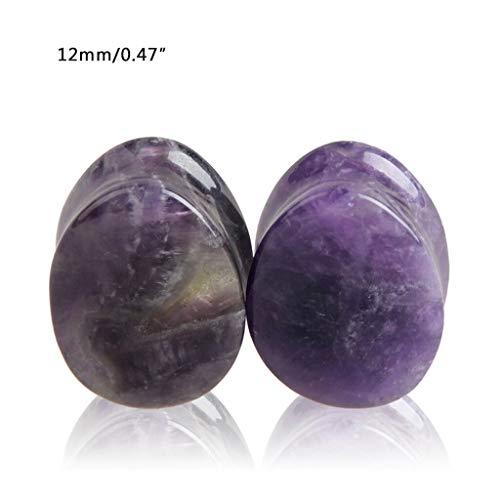 - Natural Stone Teardrop Ear Plugs Tunnel Ear Expander Stretcher Piercing Jewelry | Types - Amethyst 12mm