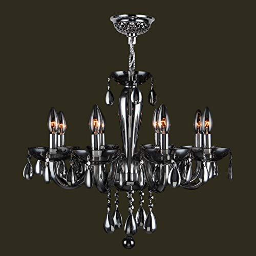 Worldwide Lighting Gatsby Collection 8 Light Chrome Finish and Smoke Blown Glass Chandelier 22