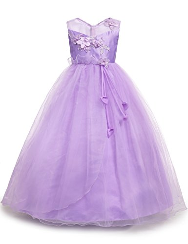 aibeiboutique Little Big Girls Party Gown Princess Lace Dress Model 708 (Purple, 5-6 Years)
