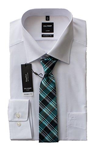 OLYMP Herrenhemd, Weiß Modern Fit mit passender Seidenkrawatte, Bügelfrei, Knitterfrei, 100% Baumwolle, New Kent