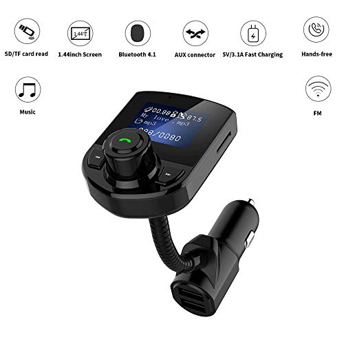 (Bluetooth Car MP3 Player FM Transmitter with TF/SD Card, USB Dual Chargerfor for All Smartphones Audio Players)