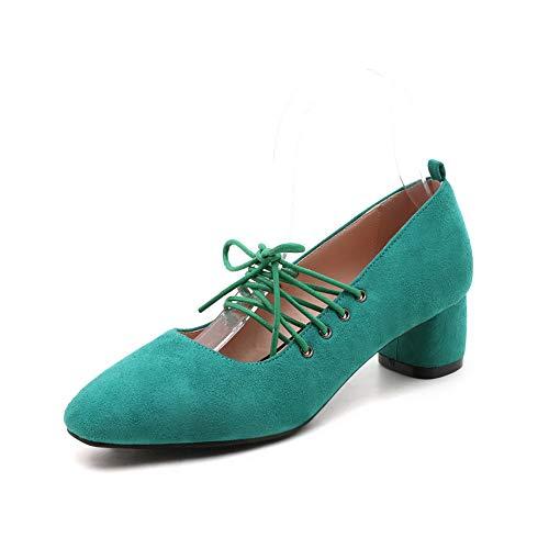 Solid BalaMasa Herringbone Urethane Comfort Pumps Green APL10741 Shoes Womens rEEqa