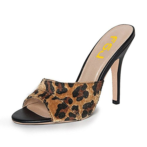Leopard Print Mule - FSJ Women Comfort High Heel Mules Peep Toe Slide Sandals Slip On Dress Pump Shoes Size 10 Leopard Print