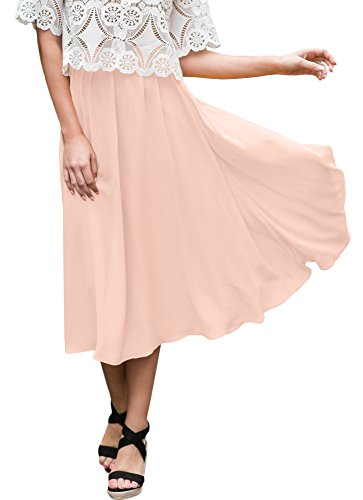 For G and PL Womens Elastic Waist Chiffon Solid Color Swing Flowy Flared Loose Casual Midi Skirt Pink XL by For G and PL