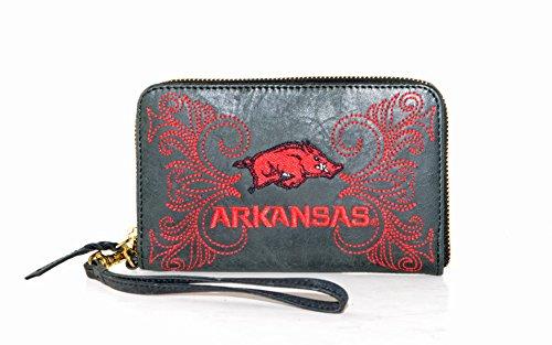 Gameday Boots NCAA Arkansas Razorbacks Women's Wristlet, 8x5x1/2, Black Arkansas Razorbacks Embroidered Leather
