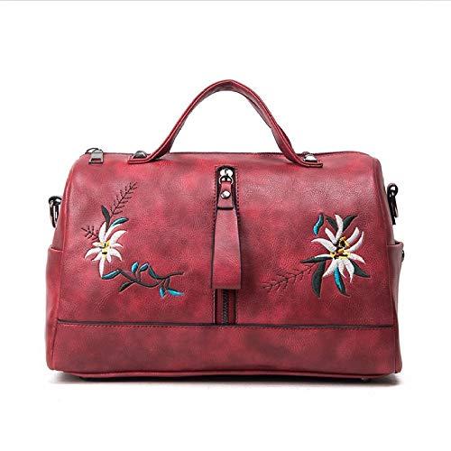 Estilo Bordadas Las Faux De Flores Pu Florales Red Bolsos La Totes Chino Wu Bolso Mujeres Cuero Zhi Señoras Hombro qTwCxA6H