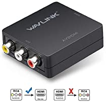 HDMI to RCA, Wavlink 1080P HDMI to AV 3RCA CVBs Composite Video Audio ConverterAdapter