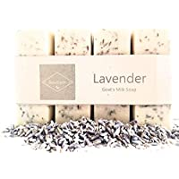 """LAVENDER GOATS MILK SOAP - Rich Moisturizing Creamy Soothing Age Defying All Natural Organic Ingredients - 4 Perfect Size Bars""""Soap for a Month ▪SPA AT HOME"""""""