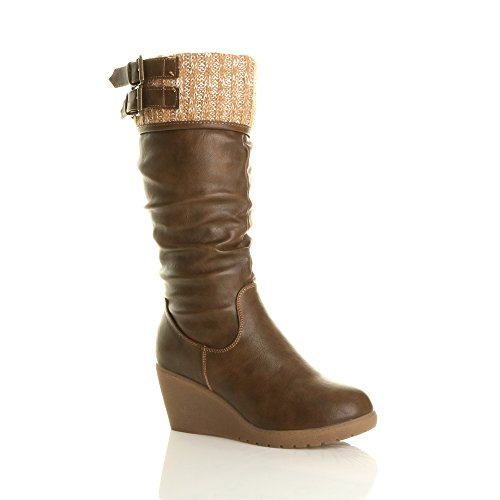Ajvani Women's Mid Wedge Heel Contrast Knitted Cuff Buckle Calf Boots Size 6 (Mid Calf Wedge Boots)