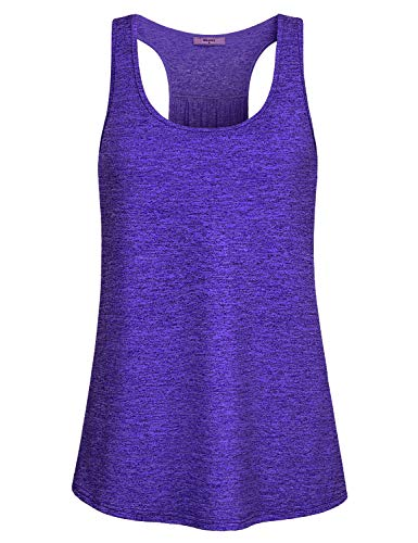 Miusey Yoga Shirts for Women,Ladies Sleeveless Tank Tunic Tops Petite Workout Gym Soft Sport Wear Running Round Neck Cool Activewear Quick Dry Compression Under Outfit for Athlete Blue M by Miusey (Image #2)