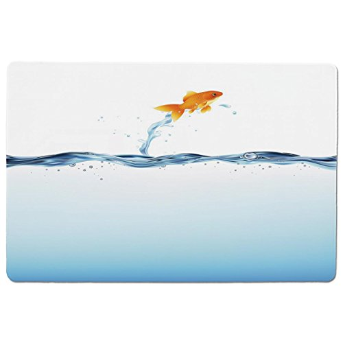 Mouse Pad Unique Custom Printed Mousepad [ Aquarium,Little Goldfish Leaping Out of Water Bravery Challenge Freedom Theme Decorative,Blue Light Blue Orange ] Stitched Edge Non Slip Rubber (Leaping Fish Water)