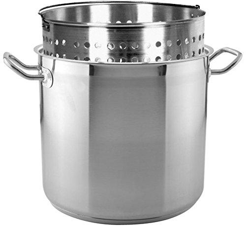 Tiger Chef 16 Quart Heavy-Duty Stainless Steel Stock Pot With Cover And Aluminum Steamer Basket