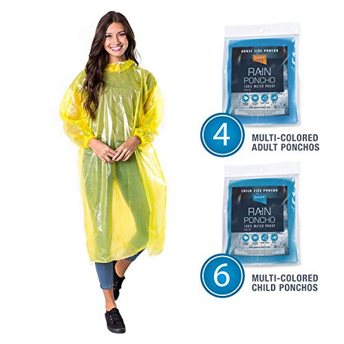 ble Emergency Rain Ponchos | Family 10 Pack (Adults/Kids) | 2X Stronger | Portable | Waterproof with Sleeves & Hood | Assorted Colors ()