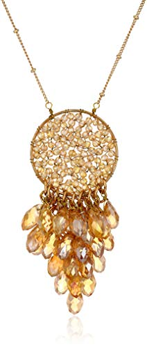 Panacea Beaded Circle with Crystals Pendant Necklace, Topaz, 28.5