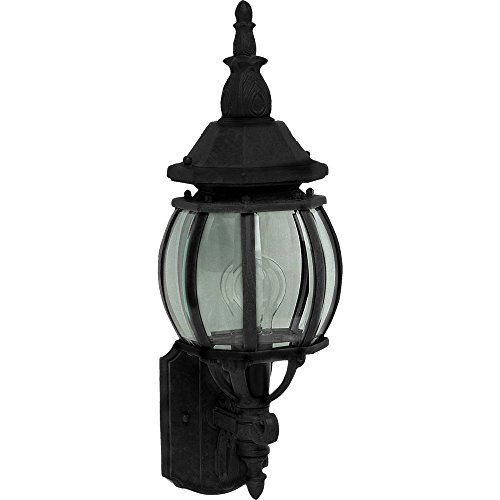- Maxim 1032BK Crown Hill 1-Light Outdoor Wall Lantern, Black Finish, Clear Glass, MB Incandescent Incandescent Bulb , 100W Max., Dry Safety Rating, Standard Dimmable, Glass Shade Material, 5750 Rated Lumens