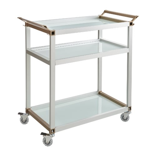Safco Products Large Refreshment Cart 8969SL, Silver, 150 lbs. Capacity, Tempered Glass Shelves, Swivel Wheels, Removable Tray