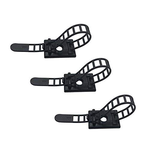 25pcs Cable Clips the Adhesive Cable Ties, Adjustable Nylon Cable Zip Ties and Adhesive Cable Clips with Optional Screw Mount for Cord Management - Adjustable Clips