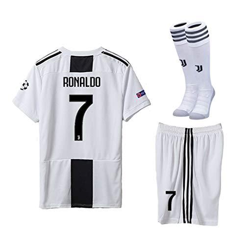 08e67bdd897 Pskhf Juventus 2018 2019 Season  7 Ronaldo Home Kids Or Youth Soccer Jersey    Shorts   Socks   Armbands 7-8Years